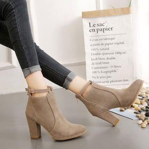 Women's Round Toe Buckles High Heel Suede Shoes Large Size Fashion Boots