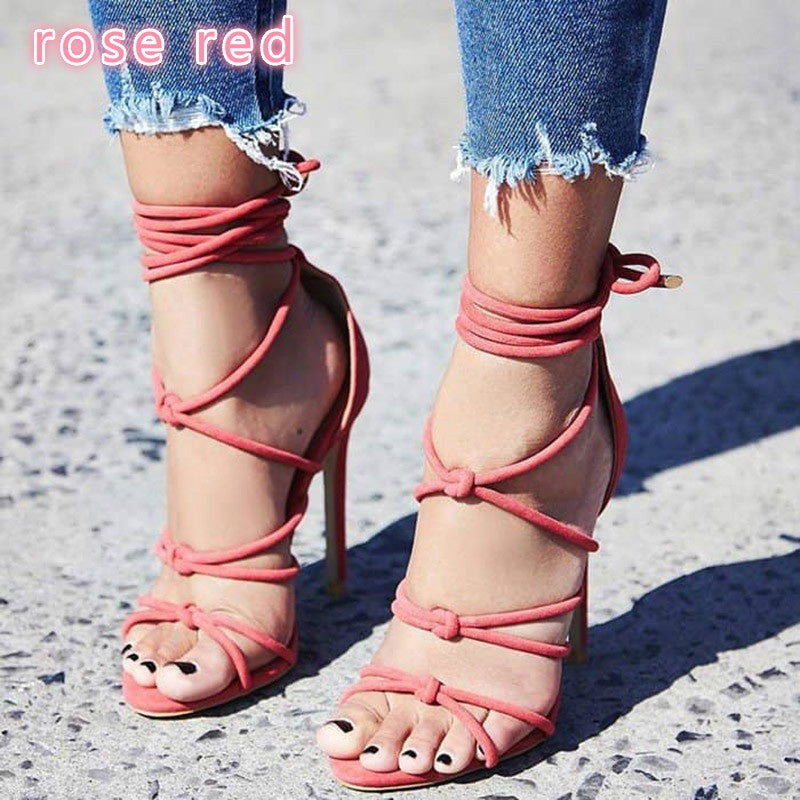 Sexy Lace Up High Heels Stiletto Pump Black Shoes Woman Open Toe Strappy Gladiator Sandals