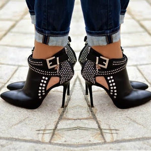 Sexy Women High Heels Shoes Punk Rivet Decoration Casual Shoes