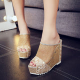 Womens Flip Flops Hollow Wedge High Heel Shoes Ladies Summer Sandals