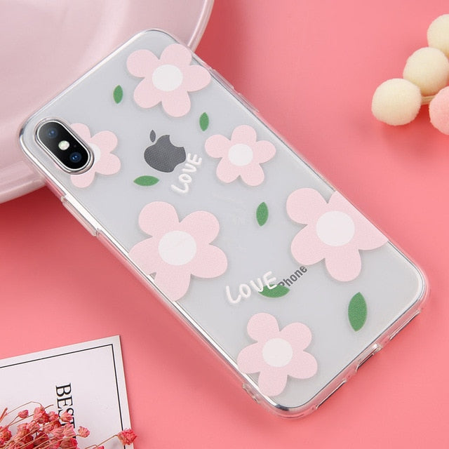 Lovebay Soft Clear Phone Cases For iphone For iphone XS Max / Flower 2 Pink