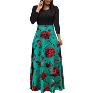 Female Floral Pencil Dress Green Long Sleeve 4 / S