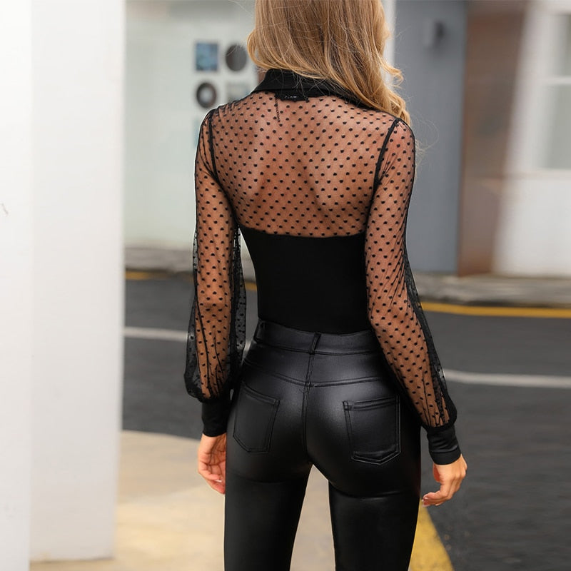 Women Black Polka Dot Mesh Top