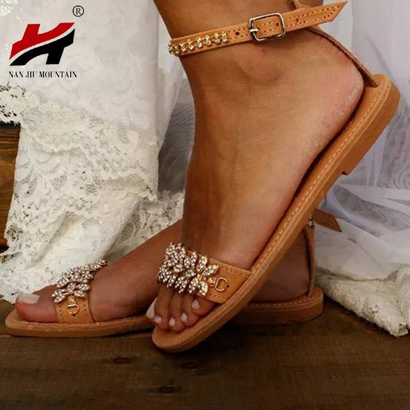 Open toe rhinestone summer flat sandals