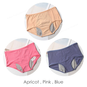 Leak-proof female underwear Apricot Pink Blue / L / 3PCS
