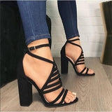Gladiator High Heel Summer Shoes Black / 6
