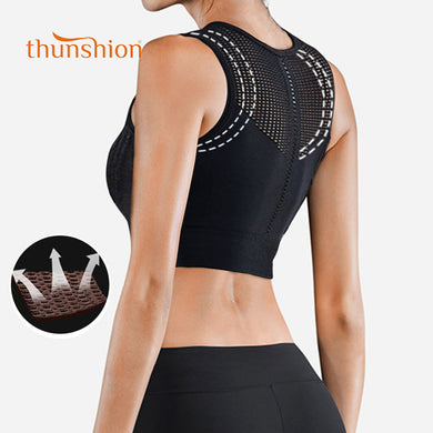 Shock proof hollow breathable sports bra