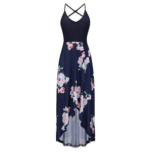 Backless long beach dress Navy / S / China