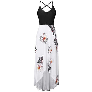 Backless long beach dress White / S / China