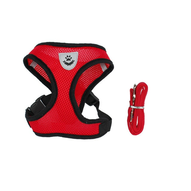 Cat Dog Adjustable Walking Harness Vest Red / S