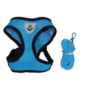 Cat Dog Adjustable Walking Harness Vest Blue / S