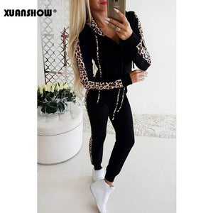 Women winter fleece leopard print tracksuit Black / XL