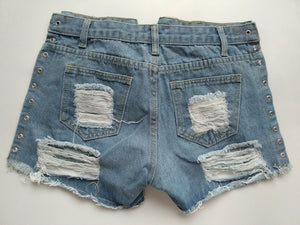 Sexy ripped high waist summer denim shorts