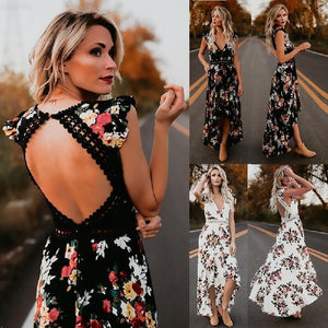 Boho backless floral maxi dress