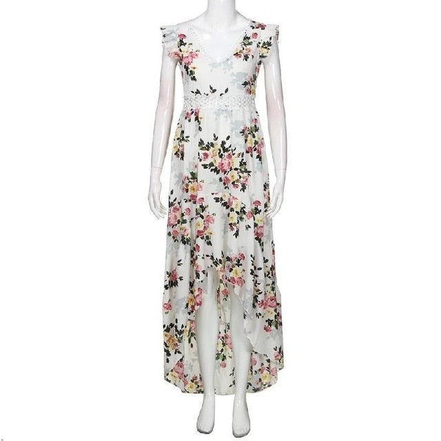 Boho backless floral maxi dress White / M