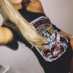 Black Ladies Punk Rock Short Sleeve Eagle Print T-Shirt