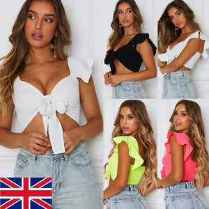 Women Short Ruffled Sleeve Crop Top