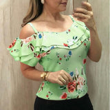 Summer flower print casual ruffle top