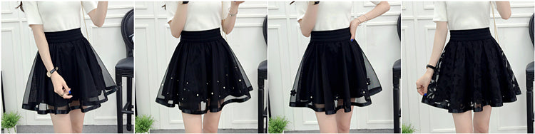 Elastic mini black high waist skirt