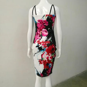 Sexy Sling Sleeveless Flower Bodycon Dress