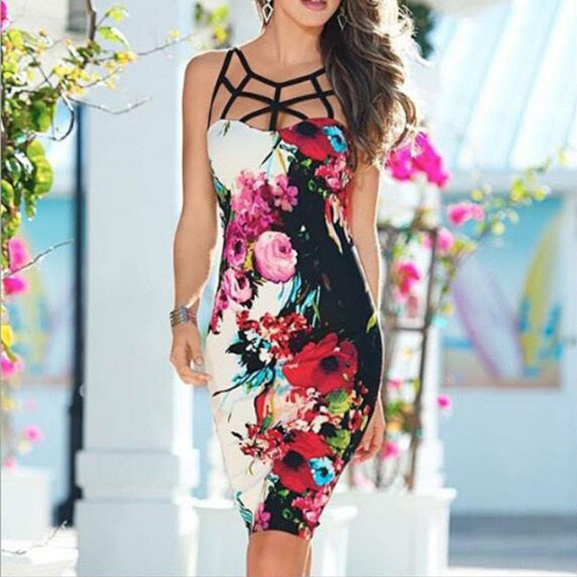 Sexy Sling Sleeveless Flower Bodycon Dress Multi / L