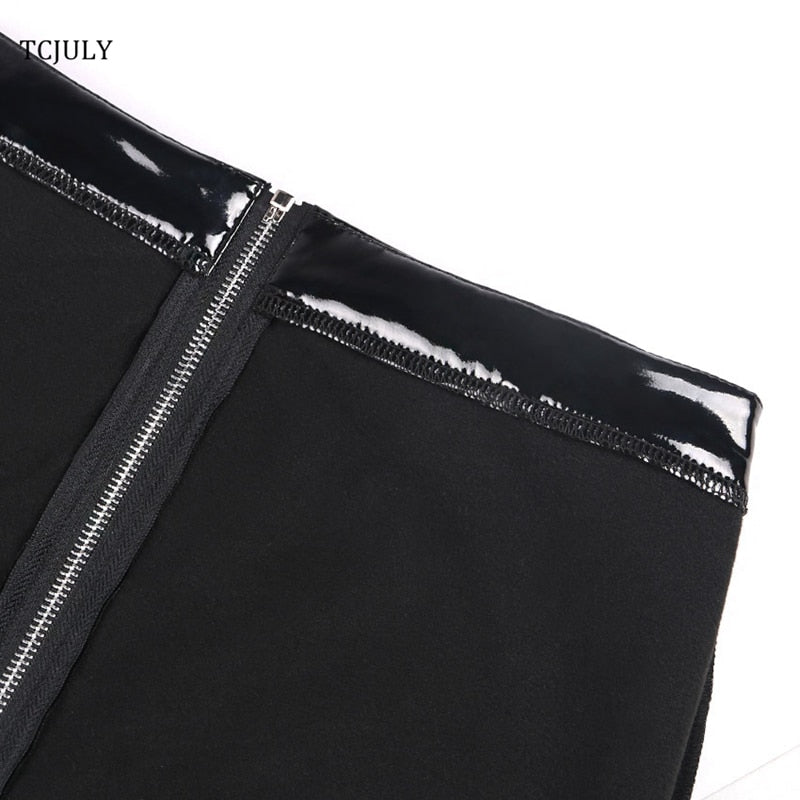 Pu Leather Pants Zipper