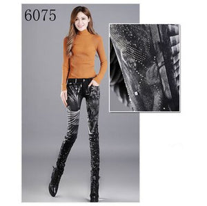 Women Print High Waist Jeans 6075 with fleece / 27