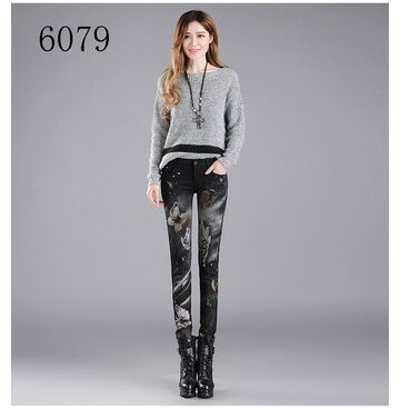 Women Print High Waist Jeans 6079 with fleece / 32