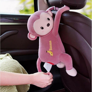 Car Home Hanging Monkey Pippi Tissue Holder Pink