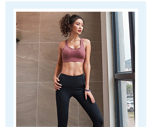 Push up wire free sports bra
