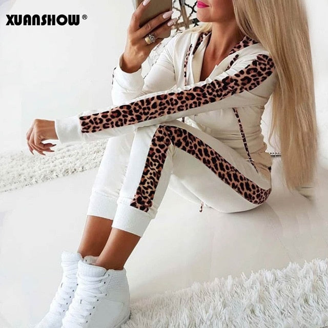 Women winter fleece leopard print tracksuit White / XXL