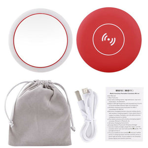 WIRELESS CHARGING LED MAKEUP MIRROR Red