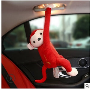 Car Home Hanging Monkey Pippi Tissue Holder red