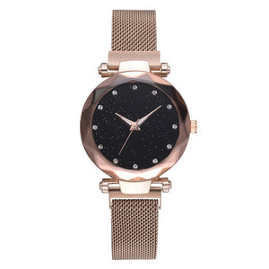 Luxury Water-resistant Magnetic Strap Starry Sky Watch rose gold