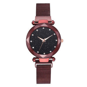 Luxury Water-resistant Magnetic Strap Starry Sky Watch red