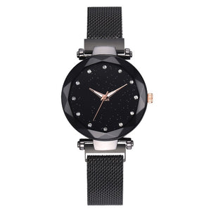 Luxury Water-resistant Magnetic Strap Starry Sky Watch black