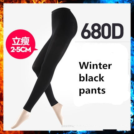 2 Size down Elastic Women Pantyhose black PANTS thick / XL