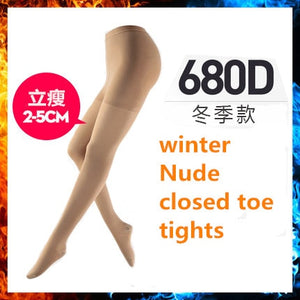 2 Size down Elastic Women Pantyhose closed toe thick / M