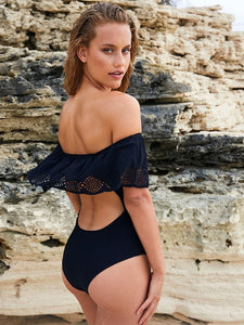Sexy Off The Shoulder Swimwear Swimsuit Black / S