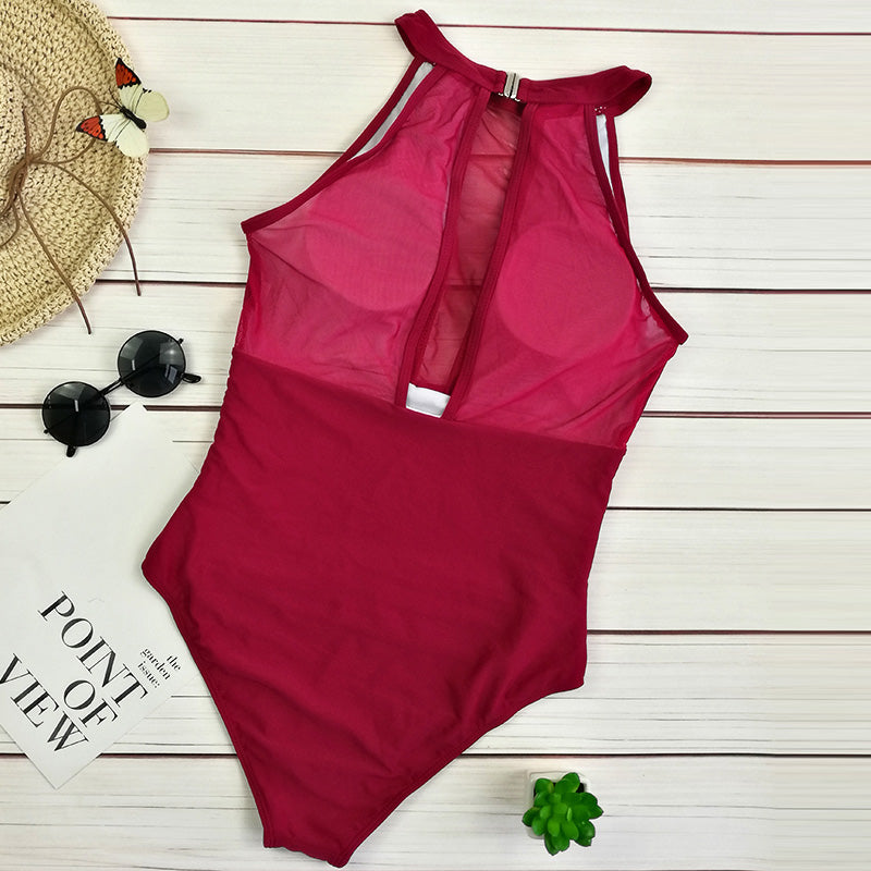 Halter push up mesh swimwear
