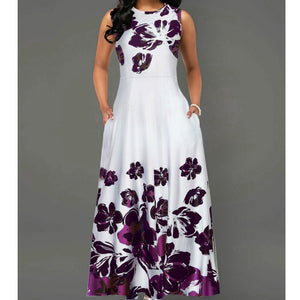 Floral print sleeveless long dress