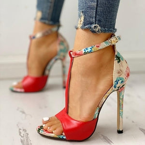 Floral open toe high heels Red / 42