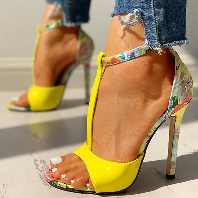 Floral open toe high heels Yellow / 35