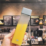 Square Frosted Transparent Leak-proof Outdoor Sport Bottle Frosted Gray