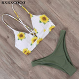 Brazilian push up flower bikini set
