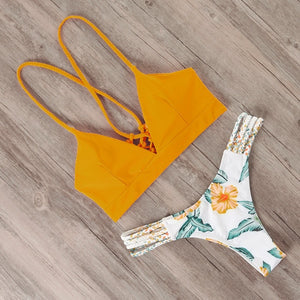 Brazilian push up flower bikini set B3739YE / L