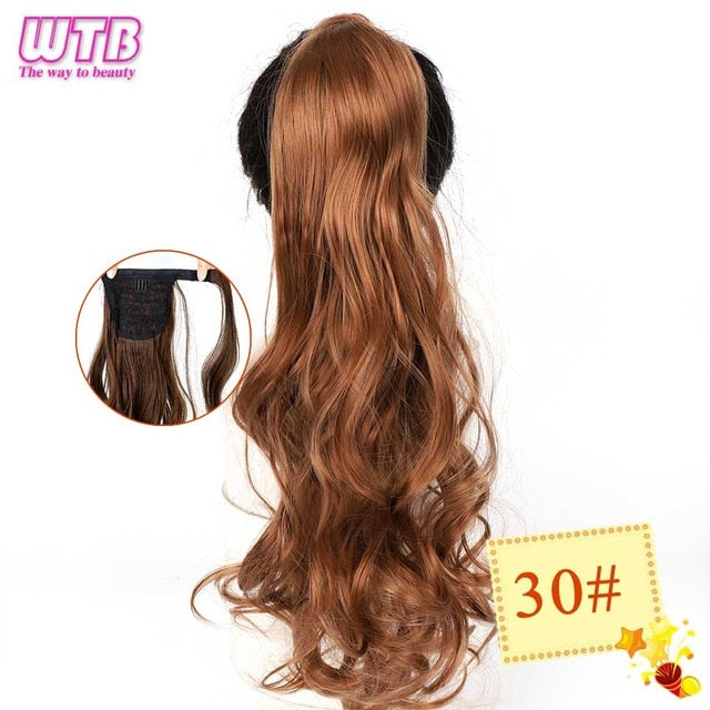 Long Wavy Wrap Around Clip In Ponytail Hair Extension 30 / 22inches