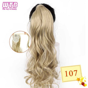 Long Wavy Wrap Around Clip In Ponytail Hair Extension 107 / 22inches