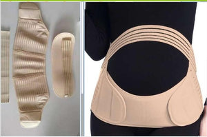 Women maternity back brace abdomen support belt dark nude striped / M