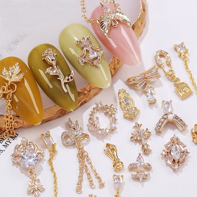 3D Rose chain metal Nail art jewelry